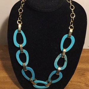 Jewelry - Gold Tone Turquoise blue color hoop necklace 26""